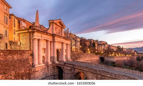Historical Porta San Giacomo view in Citta Alta of Bergamo City