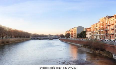 historical quarter of Verona, view from river on Ponte Della Vittoria bridge, Italy
