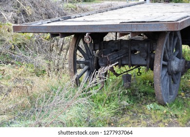 historical railway waggon sited in industrial wasteland