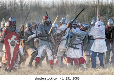 Historical re-enactment of the 11th century battle between the Byzantine and the Normans for the conquest of the city of Taranto and the rich South Italy. Puglia, Italy - 15/06/2019