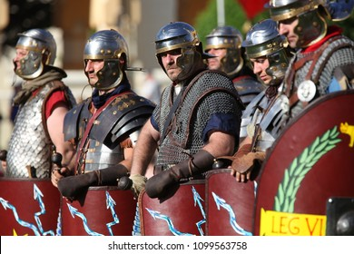 Historical re-enactment of ancient Roman troops ready for battle, Alba Iulia Apulum Roman Festival 2018