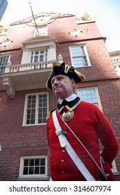 Historical reenactor-docent at site of March 5, 1770 Boston Massacre, pre-American Revolution and Old South Meeting House, Freedom Trail, Boston, MA