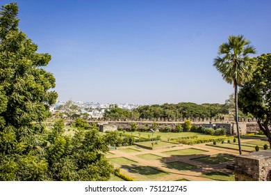 Historical Royal Garden at Golconda Fort Looking out towards Downtown Hyderabad, India