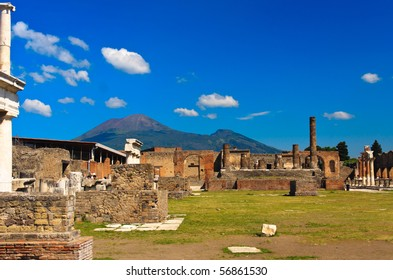 historical ruined building with the Vezuv, Pompeii