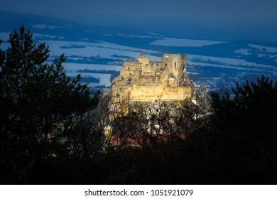 Historical ruins Beckov castle near the Trencin city in Slovakia, Europe, sunset nature panarama, Beautiful and romantic castle in Slovakia