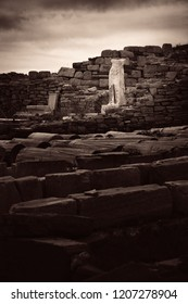 Historical Ruins in Delos Island near Mikonos, Greece.