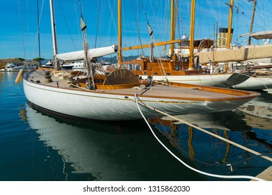 historical sailing yachts in the St Tropez harbor