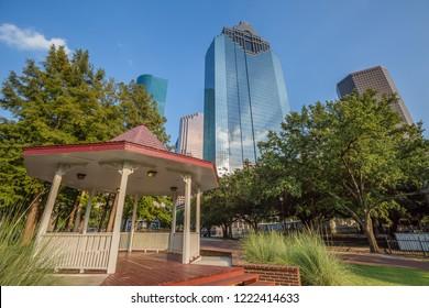 Historical Sam Houston Park near Downtown in Houston, Texas, USA