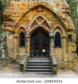 Historical sandstone chapel in Svojkov, Czech republic