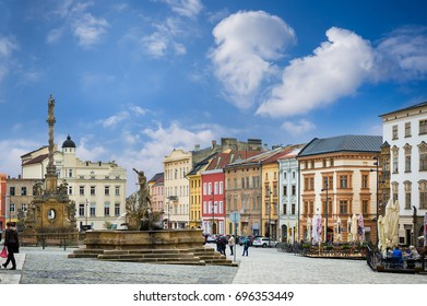 Historical sights of Olomouc in the Czech Republic. European city.