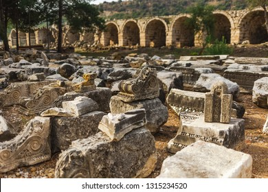 Historical site of Perge or Perga in Antalya, Turkey. Vast remains of prosperous Roman city. Ancient Perge city existed from X century before Christ till VIII of our era.