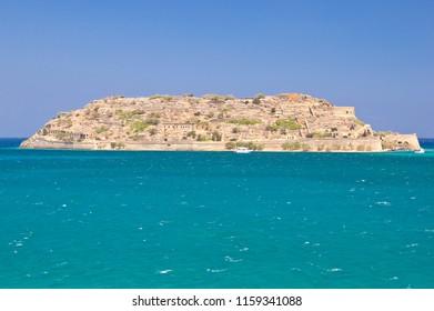 Historical Spinalonga island near Crete island in Elounda bay, Greece