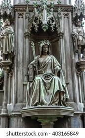 Historical statue (1848) of Charles IV (Karel IV) near Charles Bridge. Prague, Czech Republic. Charles IV - Holy Roman Emperor, was the second king of Bohemia.