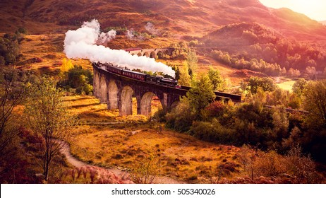 Historical Steam Train is crossing the Glenfiann Viaduct