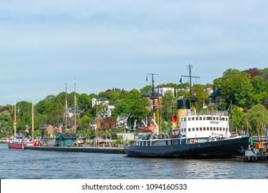 Historical steam vessel in Hamburg, Germany