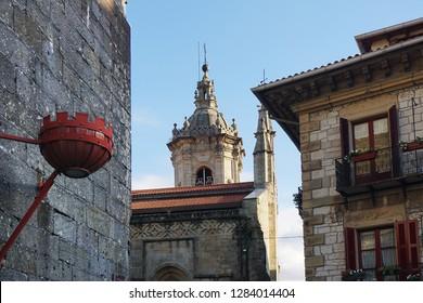 Historical stone houses in hondarribia in basque country in northern spain