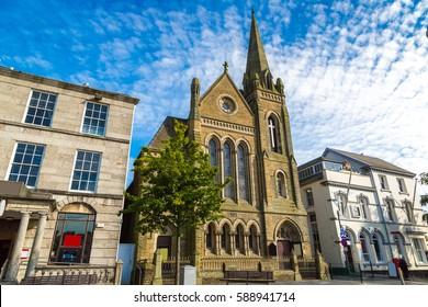 Historical street in Caernarfon in Wales in a beautiful summer day, United Kingdom