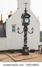 Historical street clock in Ullapool in Scotland. North west Scotland in United Kingdom.