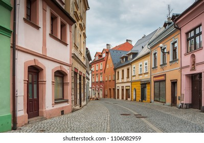 The historical streets of Loket on the river Cheb (Eger), Czech Republic
