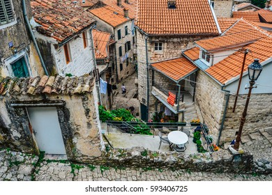 Historical streets in old town Adriatic town Kotor, Montenegro