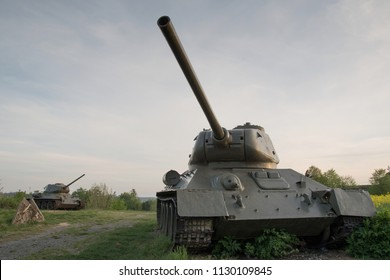 Historical tank with fortification on the background, Darkovicky, Czech Republic
