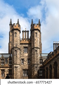 Historical Towers At Edinburgh University On Blue Sky Background