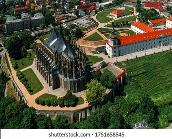 Historical Town Centre with the Church of St Barbara (drone shot) - Shutterstock ID 1751658545
