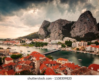 The historical town of Omis, Croatia.