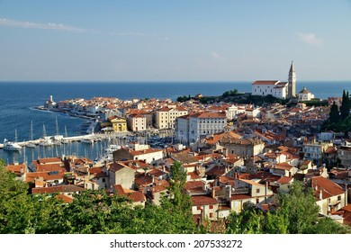 Historical town Piran on Slovenian adriatic coast