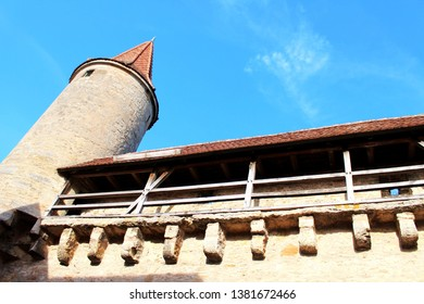 Historical town wall of the beautiful medieval city of Rothenburg ob der Tauber, Bavaria, Germany