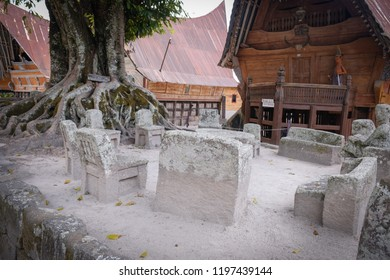 Historical and traditional Law Court of Batak people in Huta Siallagan, Samosir, Indonesia. This court used to be used by the King to proclaim justice to the people. This place is open for visitors