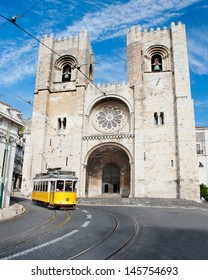 historical Tram in front of Patriarchal Cathedral Lisbon