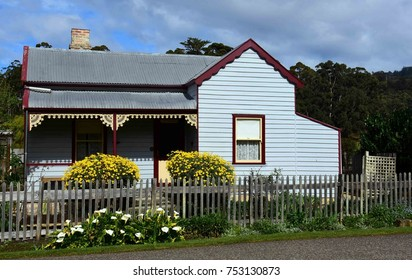 historical trentham cottage and picket fence at port arthur historic site, port arthur, tasmania, australia