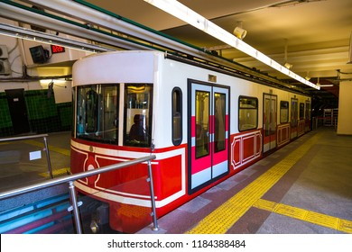 Historical tunnel funicular train in Istanbul in a summer day
