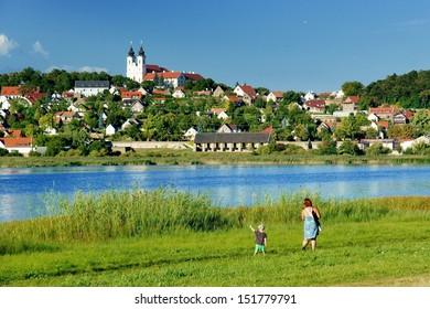 Historical village Tihany over inner lake in Tihany peninsula, Hungary