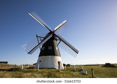 Historical wind mill on Mando island in Waddensea, Denmark.  Danish national park under UNESCO World Heritage.