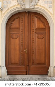 Historical Wooden Door with Arc and Patterns, Prague, The Czech Republic
