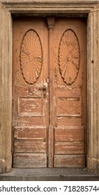 Historical Wooden Door in a Stone Entry, Prague, The Czech Republic, Europe