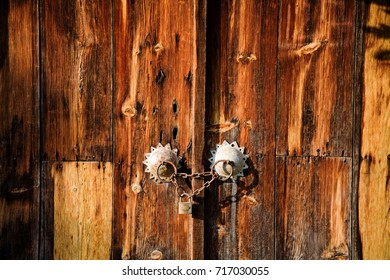 Historical wooden door in Zonguldak Turkey