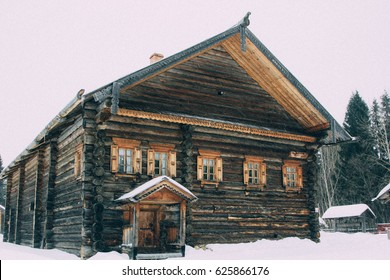 historical wooden house of the peasant