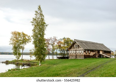 Historical wooden peasant house at the lake side in Kizhi, UNESCO world heritage site, Onega, Karelia, Russian north-west