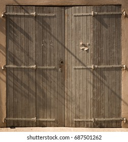 Historical Wooden Plank Door with Hinges, Marseille, France