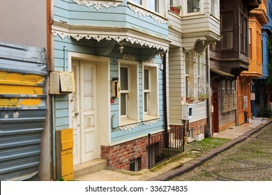 Historical wooden residential buildings in Kuzguncuk,Istanbul.