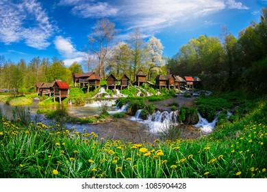 Historical wooden watermills in Jajce, Bosnia and Herzegovina