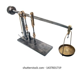 A historically device to determine soil cohesion. A old science instrument isolated on white background.
