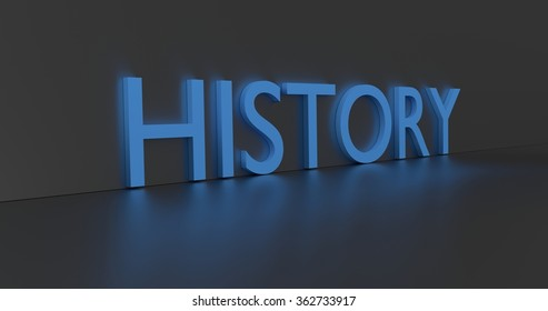 History concept word - blue text on grey background.