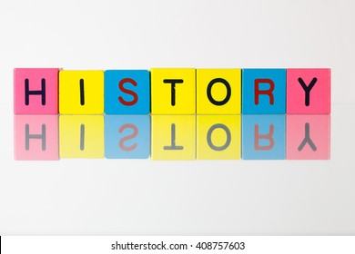 History - an inscription from children's wooden blocks