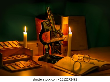 History of microscopy ancient microscopy slides with book and glasses science still life