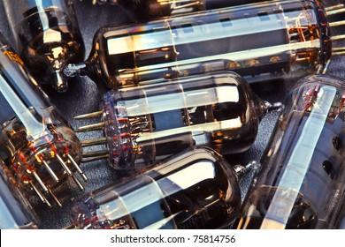 history old electronic radio tube closeup