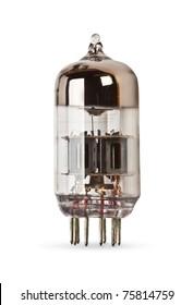 history old electronic radio tube isolated on the white background